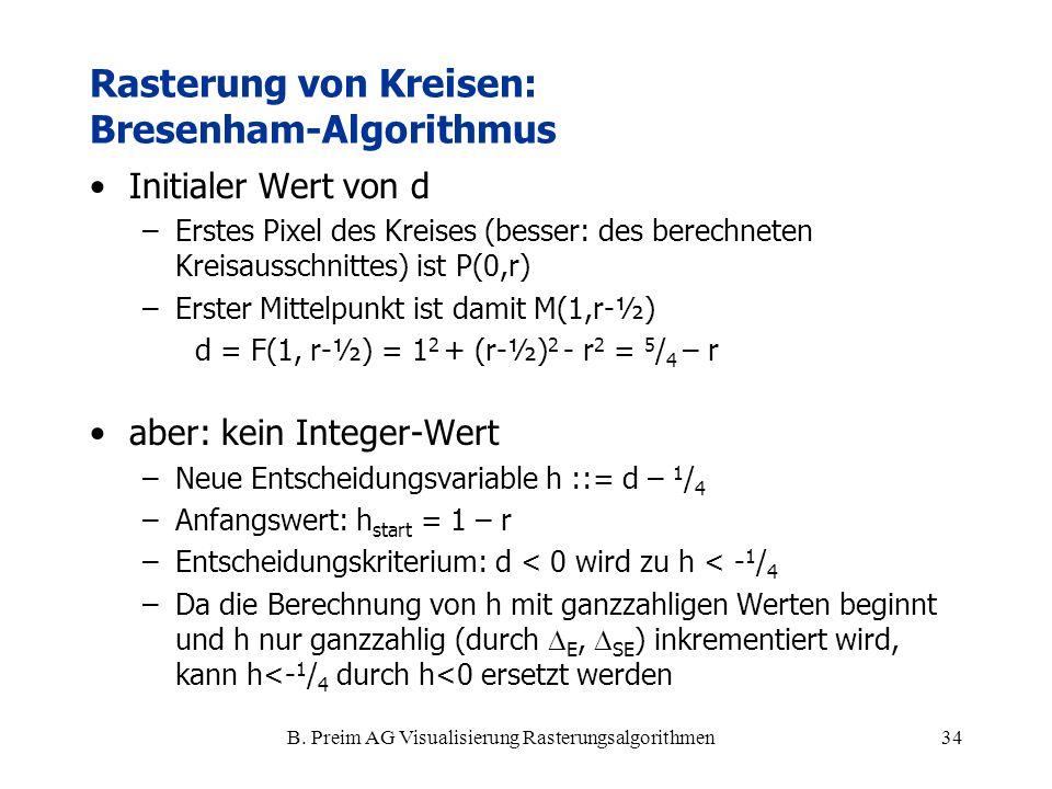 B. Preim AG Visualisierung Rasterungsalgorithmen34 Initialer Wert von d –Erstes Pixel des Kreises (besser: des berechneten Kreisausschnittes) ist P(0,