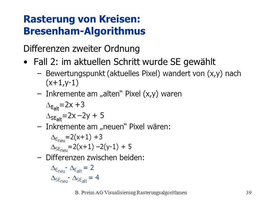 B. Preim AG Visualisierung Rasterungsalgorithmen39 Differenzen zweiter Ordnung Fall 2: im aktuellen Schritt wurde SE gewählt –Bewertungspunkt (aktuell