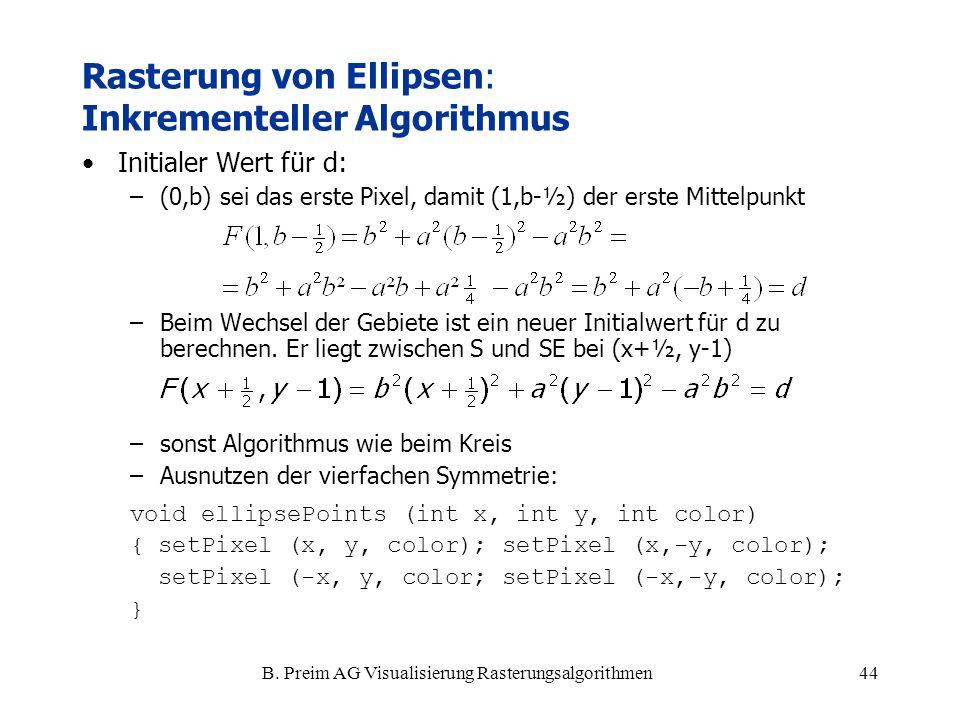 B. Preim AG Visualisierung Rasterungsalgorithmen44 Initialer Wert für d: –(0,b) sei das erste Pixel, damit (1,b-½) der erste Mittelpunkt –Beim Wechsel
