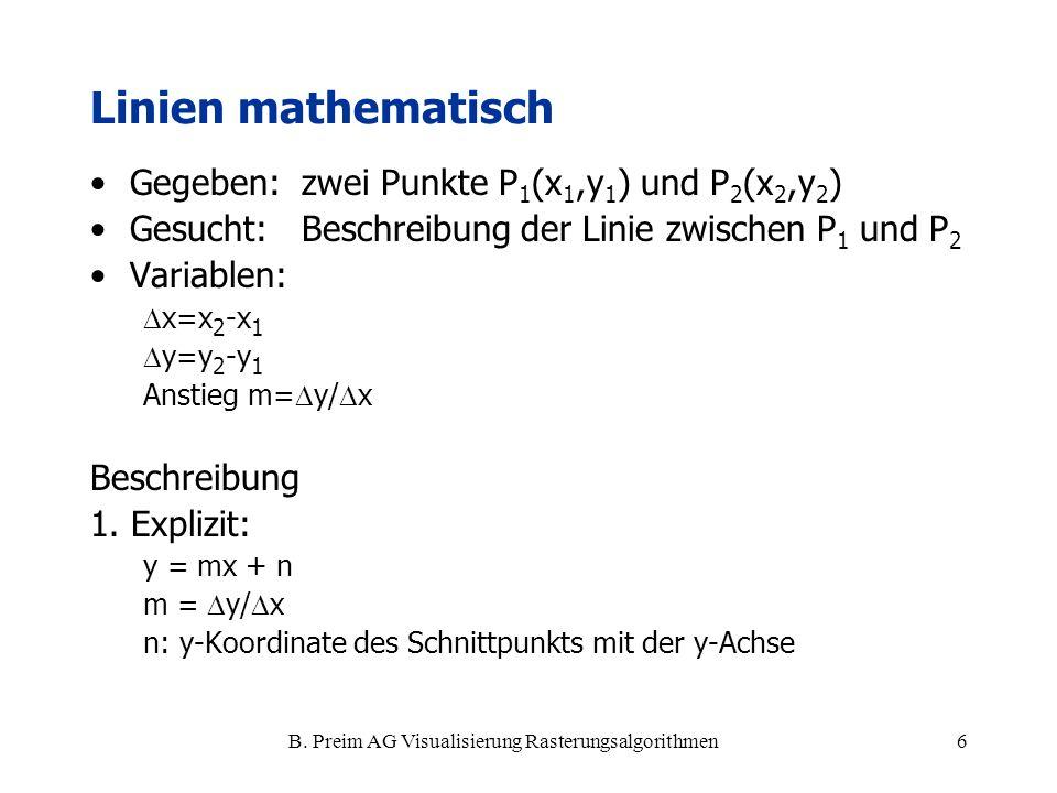 B. Preim AG Visualisierung Rasterungsalgorithmen6 Linien mathematisch Gegeben: zwei Punkte P 1 (x 1,y 1 ) und P 2 (x 2,y 2 ) Gesucht:Beschreibung der