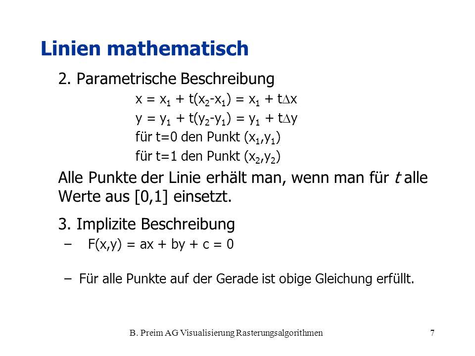 B. Preim AG Visualisierung Rasterungsalgorithmen7 2. Parametrische Beschreibung x = x 1 + t(x 2 -x 1 ) = x 1 + t x y = y 1 + t(y 2 -y 1 ) = y 1 + t y