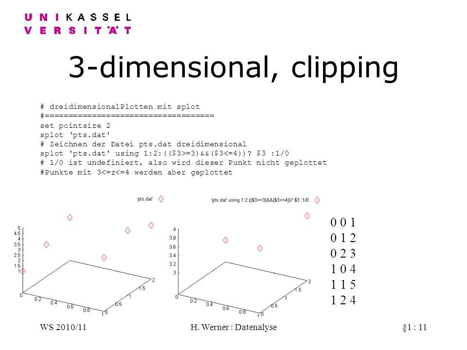 WS 2010/11H. Werner : Datenalyse§1 : 11 3-dimensional, clipping # dreidimensionalPlotten mit splot #==================================== set pointsize