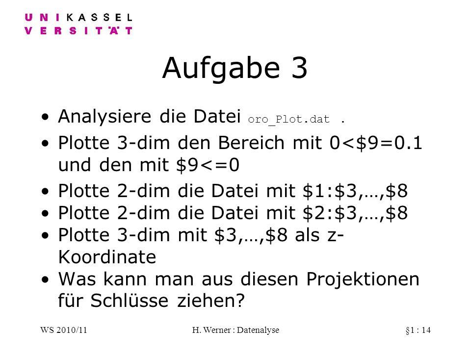 WS 2010/11H. Werner : Datenalyse§1 : 14 Aufgabe 3 Analysiere die Datei oro_Plot.dat. Plotte 3-dim den Bereich mit 0<$9=0.1 und den mit $9<=0 Plotte 2-