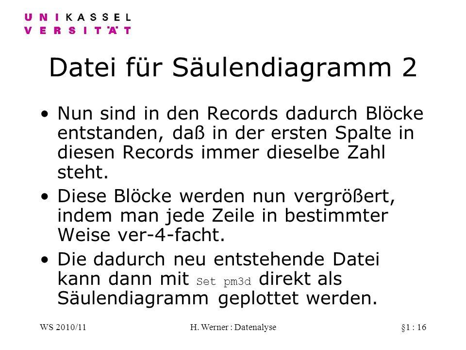 WS 2010/11H. Werner : Datenalyse§1 : 16 Datei für Säulendiagramm 2 Nun sind in den Records dadurch Blöcke entstanden, daß in der ersten Spalte in dies