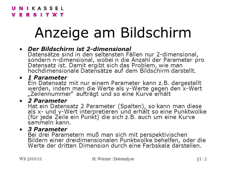 WS 2010/11H. Werner : Datenalyse§1 : 2 Anzeige am Bildschirm Der Bildschirm ist 2-dimensional Datensätze sind in den seltensten Fällen nur 2-dimension