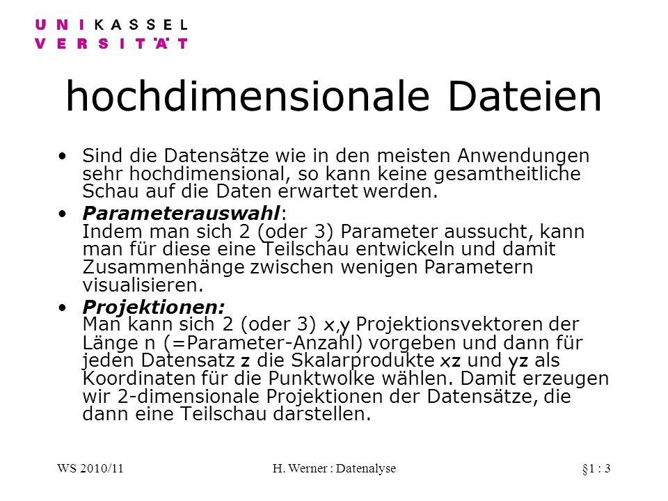 WS 2010/11H. Werner : Datenalyse§1 : 3 hochdimensionale Dateien Sind die Datensätze wie in den meisten Anwendungen sehr hochdimensional, so kann keine