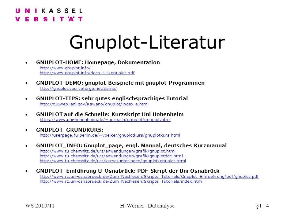 WS 2010/11H. Werner : Datenalyse§1 : 4 Gnuplot-Literatur GNUPLOT-HOME: Homepage, Dokumentation http://www.gnuplot.info/ http://www.gnuplot.info/docs_4
