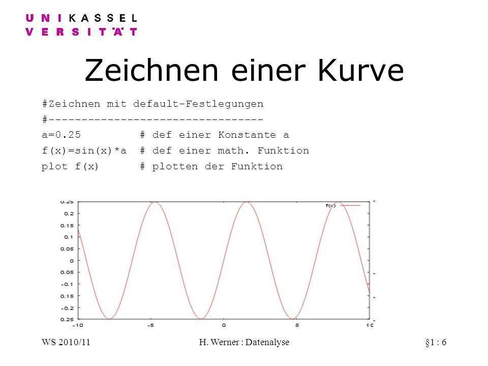 WS 2010/11H. Werner : Datenalyse§1 : 6 Zeichnen einer Kurve #Zeichnen mit default-Festlegungen #--------------------------------- a=0.25 # def einer K