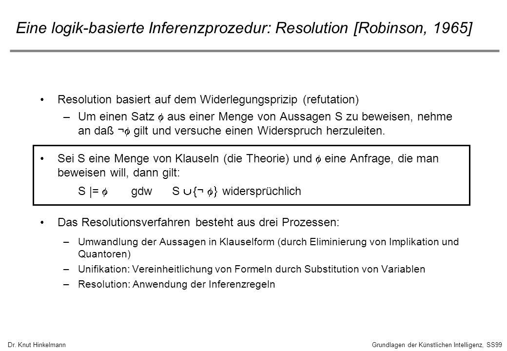 Dr. Knut HinkelmannGrundlagen der Künstlichen Intelligenz, SS99 Eine logik-basierte Inferenzprozedur: Resolution [Robinson, 1965] Resolution basiert a