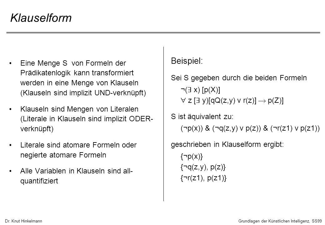 Dr. Knut HinkelmannGrundlagen der Künstlichen Intelligenz, SS99 Klauselform Eine Menge S von Formeln der Prädikatenlogik kann transformiert werden in