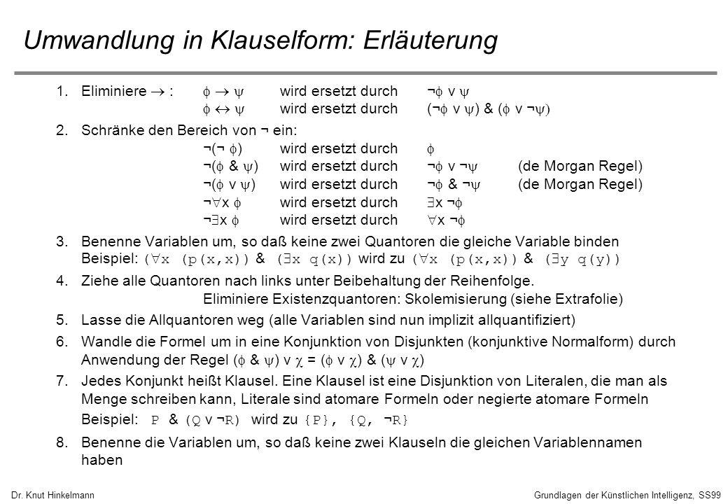 Dr. Knut HinkelmannGrundlagen der Künstlichen Intelligenz, SS99 Umwandlung in Klauselform: Erläuterung 1.Eliminiere : wird ersetzt durch ¬ v wird erse