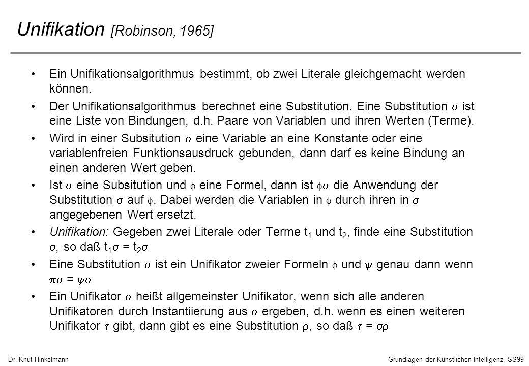 Dr. Knut HinkelmannGrundlagen der Künstlichen Intelligenz, SS99 Unifikation [Robinson, 1965] Ein Unifikationsalgorithmus bestimmt, ob zwei Literale gl