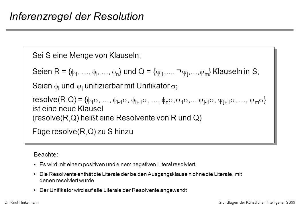 Dr. Knut HinkelmannGrundlagen der Künstlichen Intelligenz, SS99 Inferenzregel der Resolution Sei S eine Menge von Klauseln; Seien R = { 1,..., i,...,