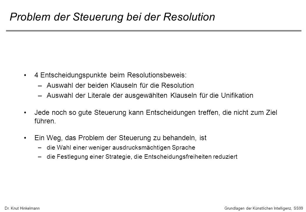 Dr. Knut HinkelmannGrundlagen der Künstlichen Intelligenz, SS99 Problem der Steuerung bei der Resolution 4 Entscheidungspunkte beim Resolutionsbeweis: