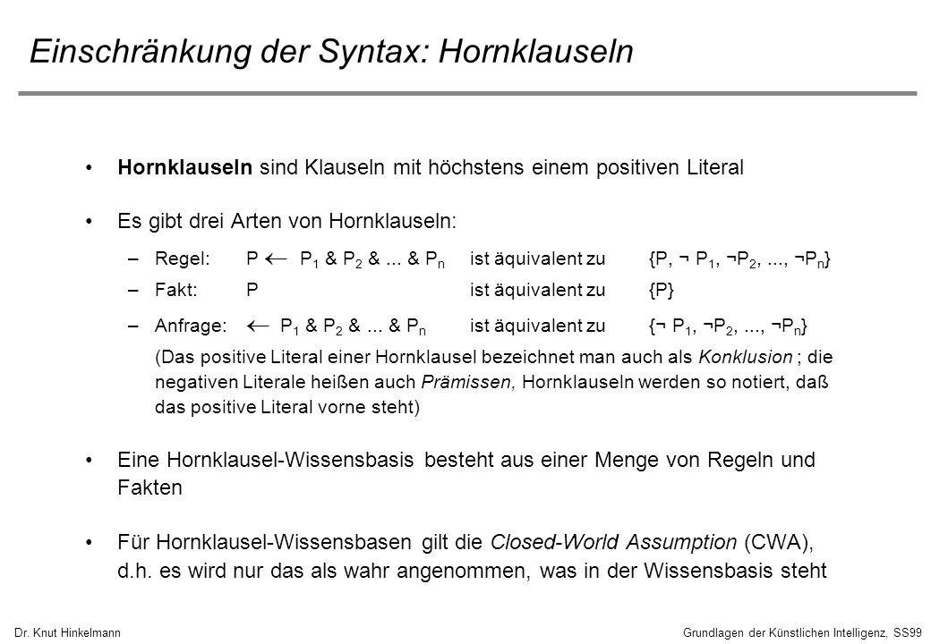 Dr. Knut HinkelmannGrundlagen der Künstlichen Intelligenz, SS99 Einschränkung der Syntax: Hornklauseln Hornklauseln sind Klauseln mit höchstens einem