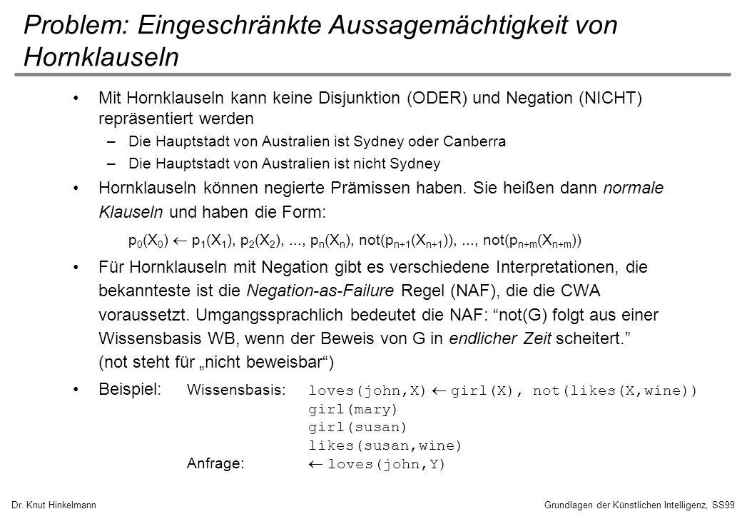 Dr. Knut HinkelmannGrundlagen der Künstlichen Intelligenz, SS99 Problem: Eingeschränkte Aussagemächtigkeit von Hornklauseln Mit Hornklauseln kann kein