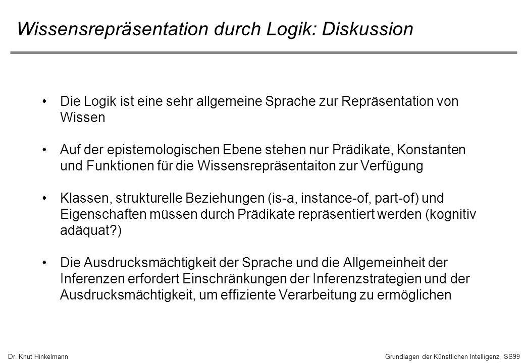 Dr. Knut HinkelmannGrundlagen der Künstlichen Intelligenz, SS99 Wissensrepräsentation durch Logik: Diskussion Die Logik ist eine sehr allgemeine Sprac