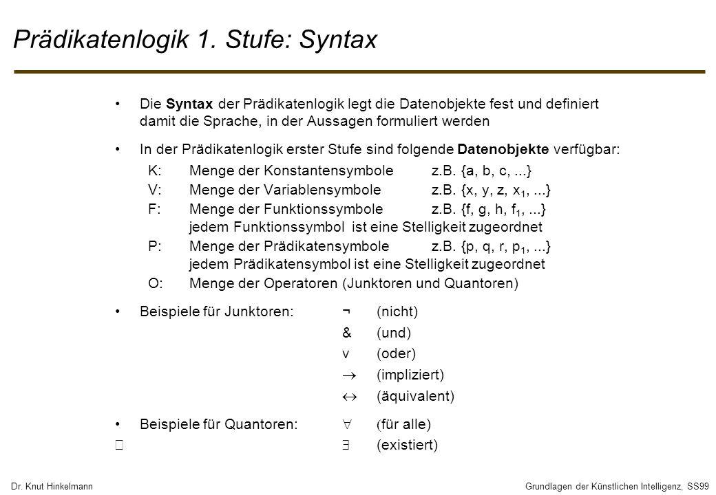 Dr. Knut HinkelmannGrundlagen der Künstlichen Intelligenz, SS99 Prädikatenlogik 1. Stufe: Syntax Die Syntax der Prädikatenlogik legt die Datenobjekte