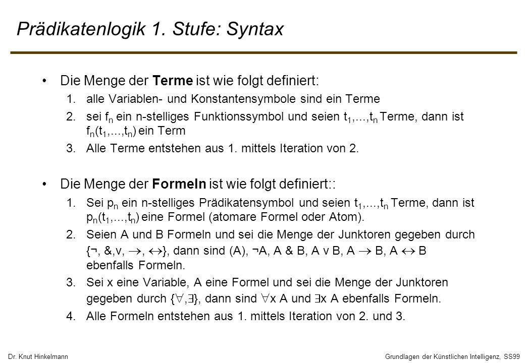 Dr. Knut HinkelmannGrundlagen der Künstlichen Intelligenz, SS99 Prädikatenlogik 1. Stufe: Syntax Die Menge der Terme ist wie folgt definiert: 1.alle V