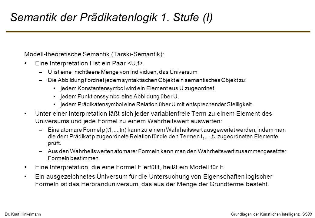 Dr. Knut HinkelmannGrundlagen der Künstlichen Intelligenz, SS99 Semantik der Prädikatenlogik 1. Stufe (I) Modell-theoretische Semantik (Tarski-Semanti