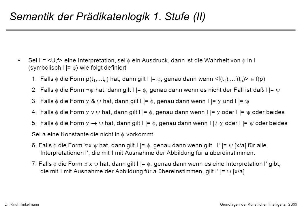 Dr. Knut HinkelmannGrundlagen der Künstlichen Intelligenz, SS99 Semantik der Prädikatenlogik 1. Stufe (II) Sei I = eine Interpretation, sei ein Ausdru