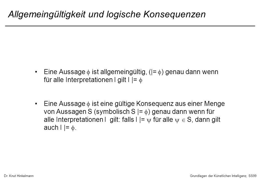 Dr. Knut HinkelmannGrundlagen der Künstlichen Intelligenz, SS99 Allgemeingültigkeit und logische Konsequenzen Eine Aussage ist allgemeingültig, (|= )