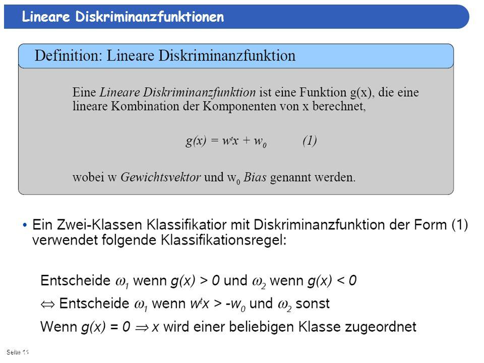 Seite 1111/15/2013| Lineare Diskriminanzfunktionen