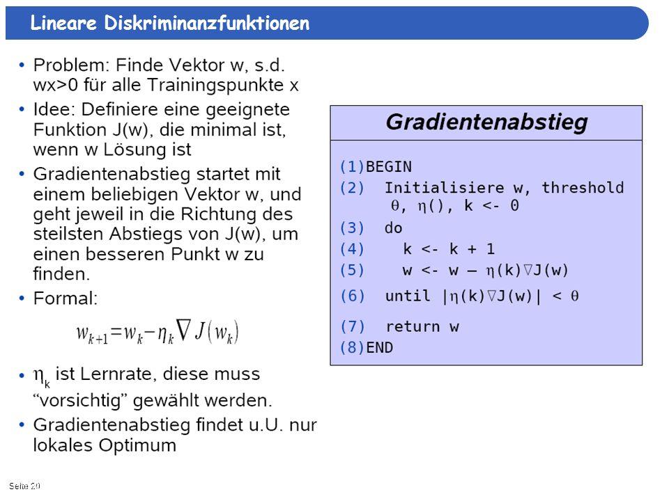 Seite 2011/15/2013| Lineare Diskriminanzfunktionen