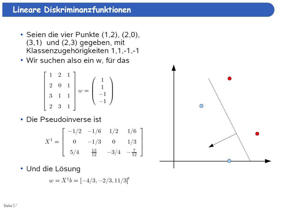Seite 2711/15/2013| Lineare Diskriminanzfunktionen