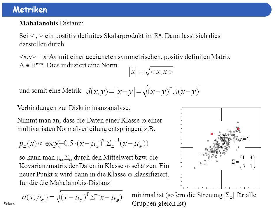 Seite 411/15/2013| Metriken Mahalanobis Distanz: Sei ein postitiv definites Skalarprodukt im n. Dann lässt sich dies darstellen durch = x T Ay mit ein