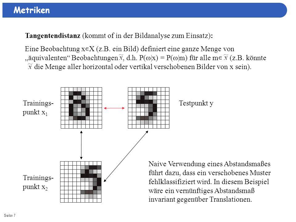 Seite 711/15/2013| Metriken Tangentendistanz (kommt of in der Bildanalyse zum Einsatz): Eine Beobachtung x X (z.B. ein Bild) definiert eine ganze Meng