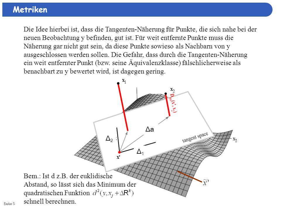 Seite 911/15/2013| Δ1Δ1 Δ2Δ2 ΔaΔa Die Idee hierbei ist, dass die Tangenten-Näherung für Punkte, die sich nahe bei der neuen Beobachtung y befinden, gu