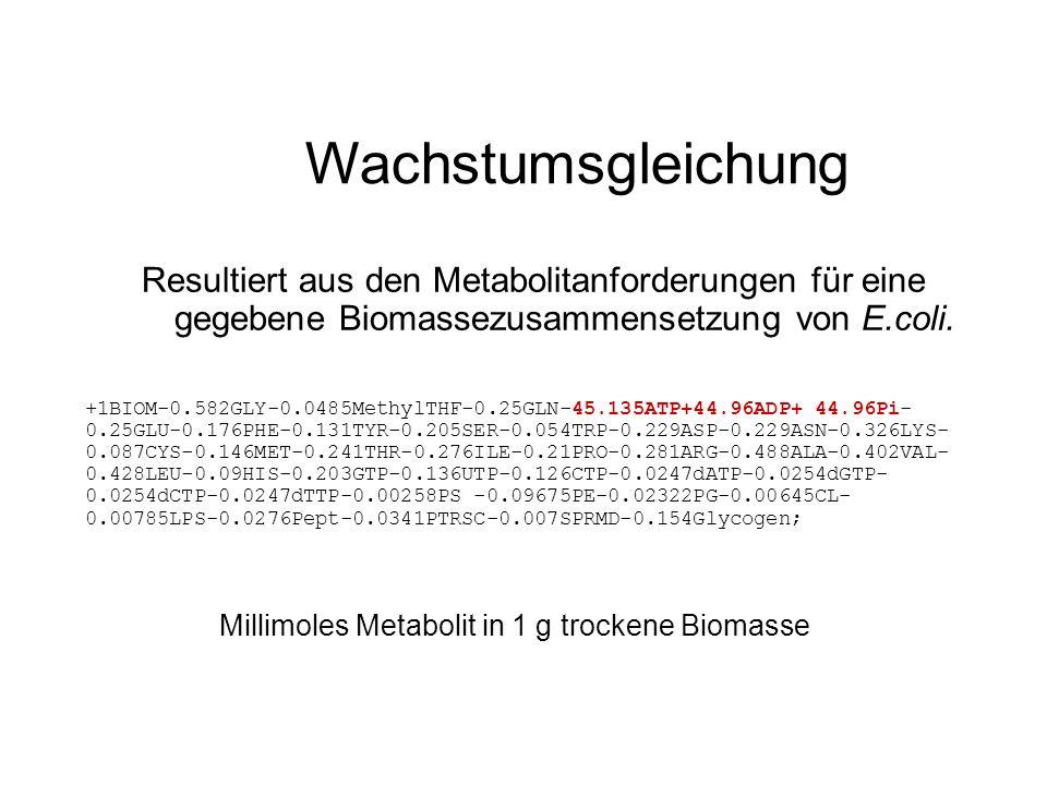 Wachstumsgleichung Resultiert aus den Metabolitanforderungen für eine gegebene Biomassezusammensetzung von E.coli. +1BIOM-0.582GLY-0.0485MethylTHF-0.2