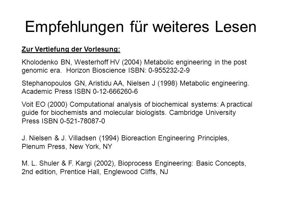 Empfehlungen für weiteres Lesen Zur Vertiefung der Vorlesung: Kholodenko BN, Westerhoff HV (2004) Metabolic engineering in the post genomic era. Horiz