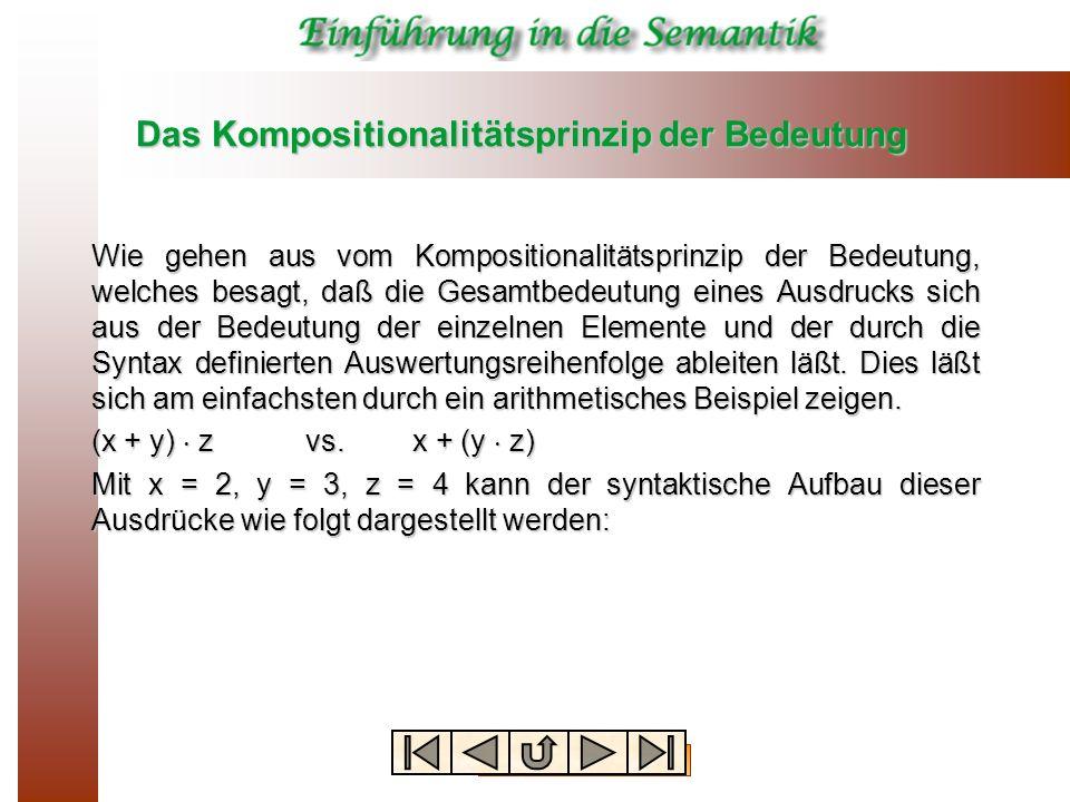 Das Kompositionalitätsprinzip der Bedeutung Wie gehen aus vom Kompositionalitätsprinzip der Bedeutung, welches besagt, daß die Gesamtbedeutung eines A