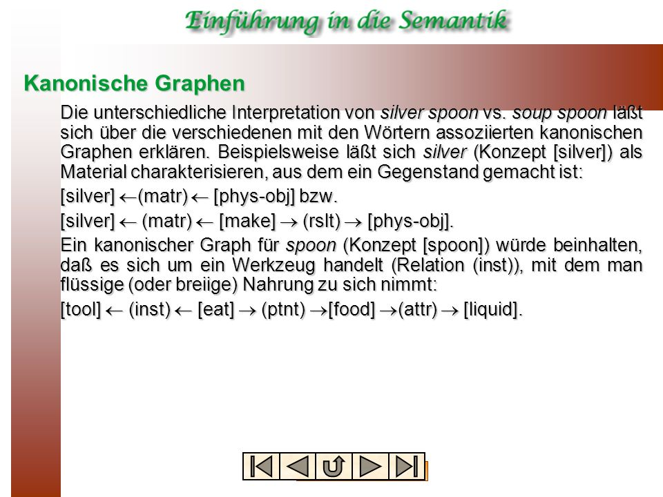 Kanonische Graphen Die unterschiedliche Interpretation von silver spoon vs. soup spoon läßt sich über die verschiedenen mit den Wörtern assoziierten k