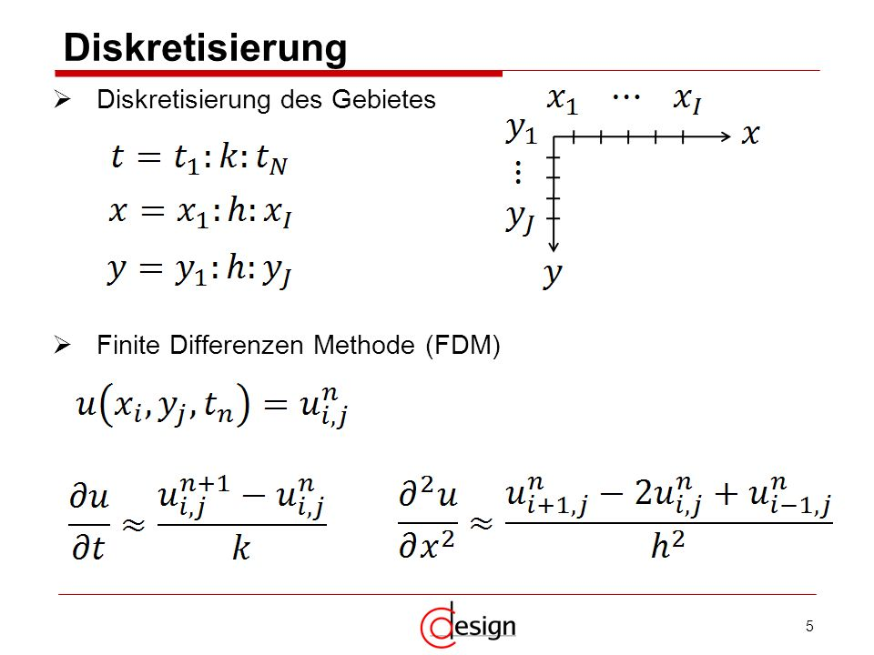 5 Diskretisierung Diskretisierung des Gebietes Finite Differenzen Methode (FDM)