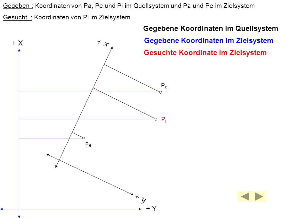 + y + x PaPa PePe PiPi + Y + X Gegeben : Koordinaten von Pa, Pe und Pi im Quellsystem und Pa und Pe im Zielsystem Gesucht : Koordinaten von Pi im Ziel