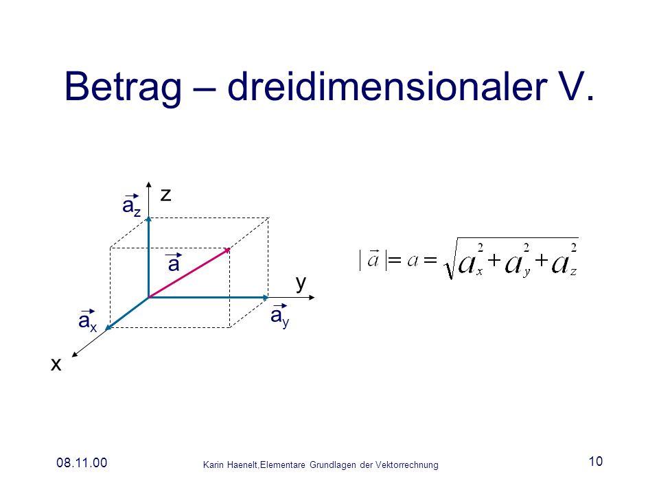 Karin Haenelt,Elementare Grundlagen der Vektorrechnung 08.11.00 10 Betrag – dreidimensionaler V. a ayay axax azaz y z x