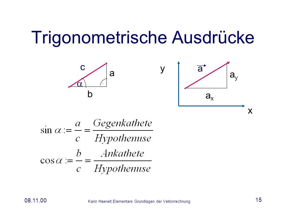Karin Haenelt,Elementare Grundlagen der Vektorrechnung 08.11.00 15 Trigonometrische Ausdrücke a x y ayay axax c a b