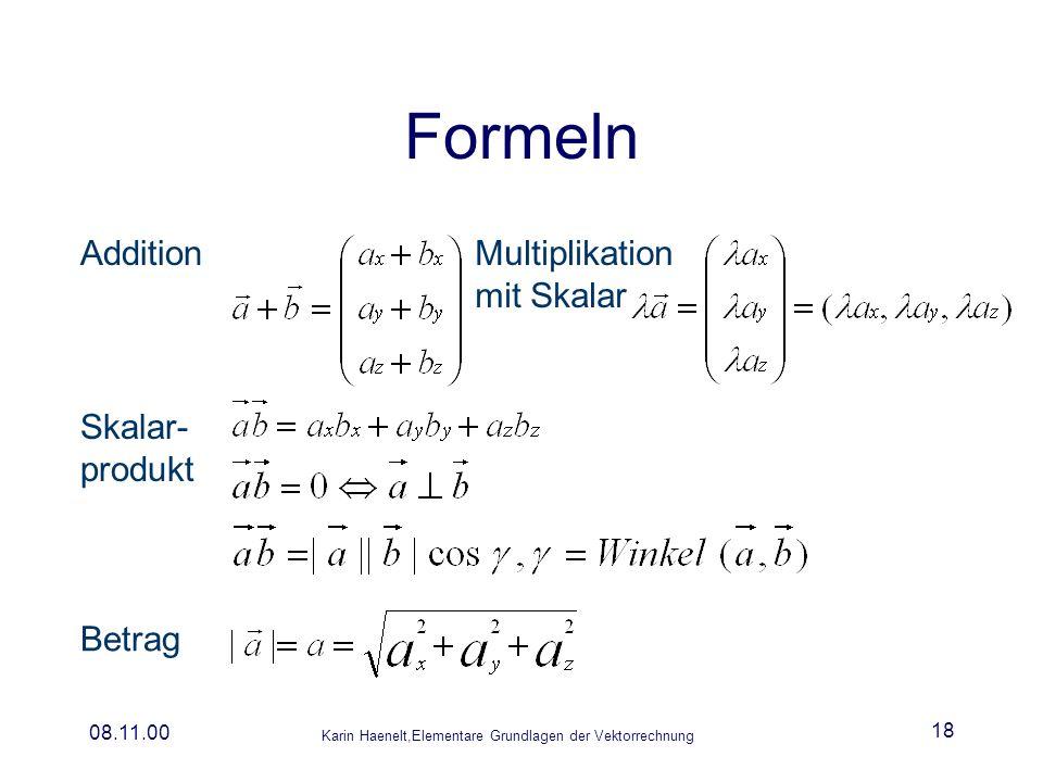 Karin Haenelt,Elementare Grundlagen der Vektorrechnung 08.11.00 18 Formeln AdditionMultiplikation mit Skalar Skalar- produkt Betrag