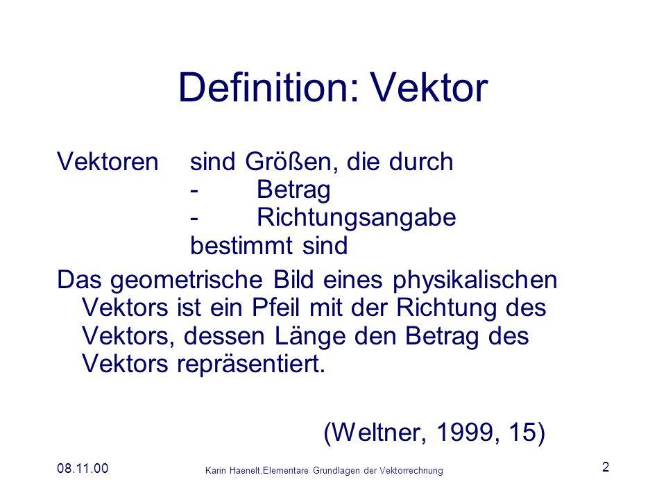 Karin Haenelt,Elementare Grundlagen der Vektorrechnung 08.11.00 3 Bezeichnungen Repräsentant eines Vektors Bezeichnung eines Vektors Bezeichnung eines Vektors mit Anfangspunkt A und Endpunkt B Einheitsvektor, Vektor mit dem Betrag einer Längeneinheit Einheitsvektor der Länge 1 in x-Richtung