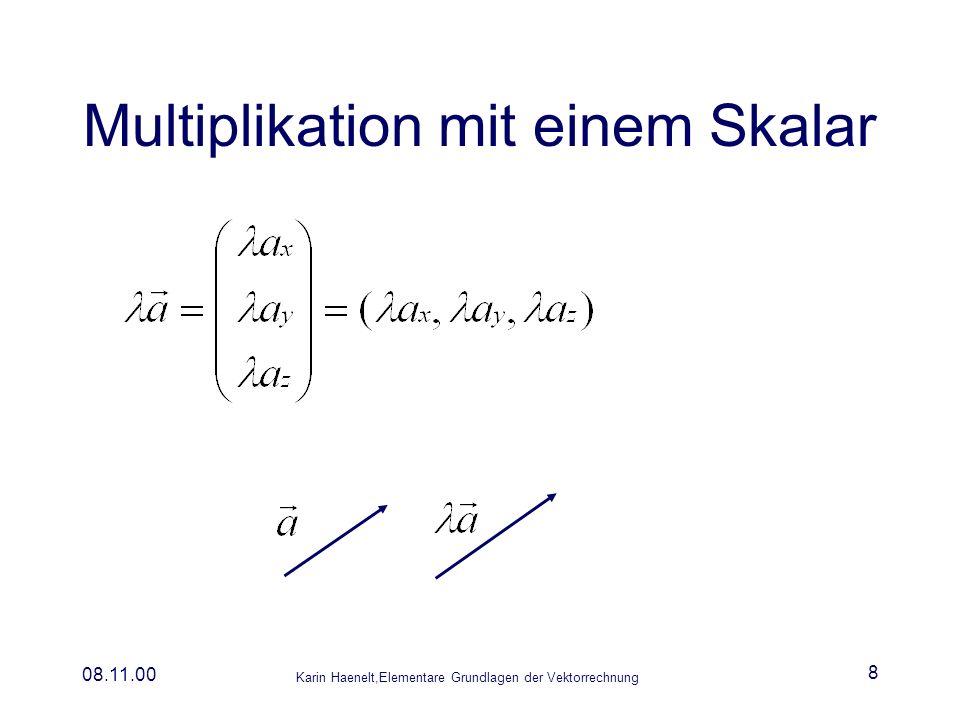 Karin Haenelt,Elementare Grundlagen der Vektorrechnung 08.11.00 8 Multiplikation mit einem Skalar