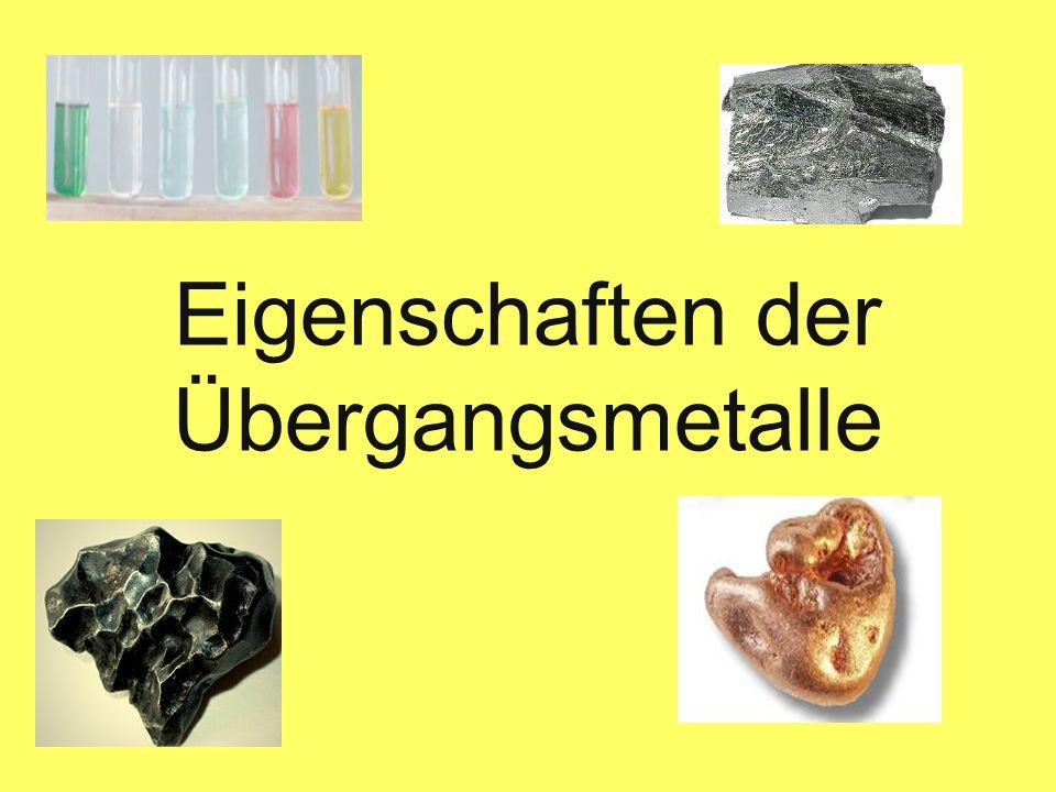 Gliederung 1.Einführung 2.Eigenschaften der Übergangsmetalle - 2.1 Oxidationsstufen - 2.2 Komplexe - 2.3 Farbige Salze - 2.4 Katalysatoren 3.Schulische Relevanz
