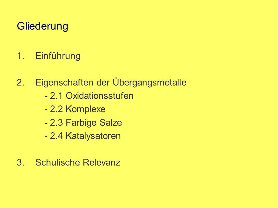 Gliederung 1.Einführung 2.Eigenschaften der Übergangsmetalle - 2.1 Oxidationsstufen - 2.2 Komplexe - 2.3 Farbige Salze - 2.4 Katalysatoren 3.Schulisch