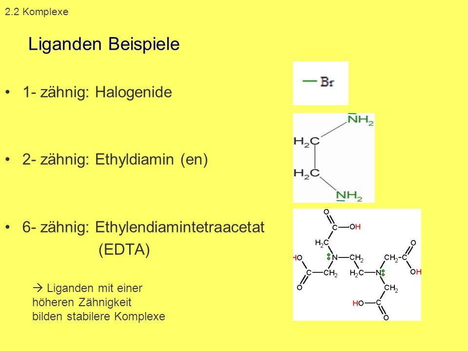 Liganden Beispiele 1- zähnig: Halogenide 2- zähnig: Ethyldiamin (en) 6- zähnig: Ethylendiamintetraacetat (EDTA) 2.2 Komplexe Liganden mit einer höhere