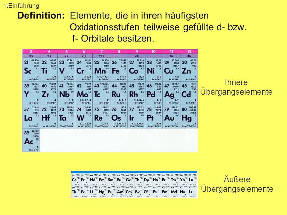 Definition: Elemente, die in ihren häufigsten Oxidationsstufen teilweise gefüllte d- bzw. f- Orbitale besitzen. 1.Einführung Innere Übergangselemente