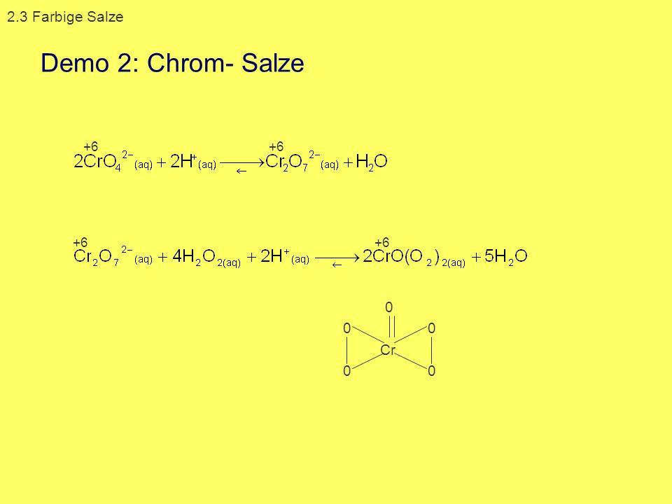 0 0 0 0 Cr 0 2.3 Farbige Salze +6