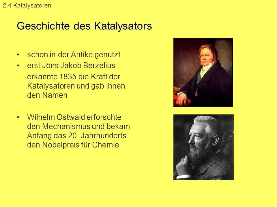 Geschichte des Katalysators schon in der Antike genutzt erst Jöns Jakob Berzelius erkannte 1835 die Kraft der Katalysatoren und gab ihnen den Namen Wi