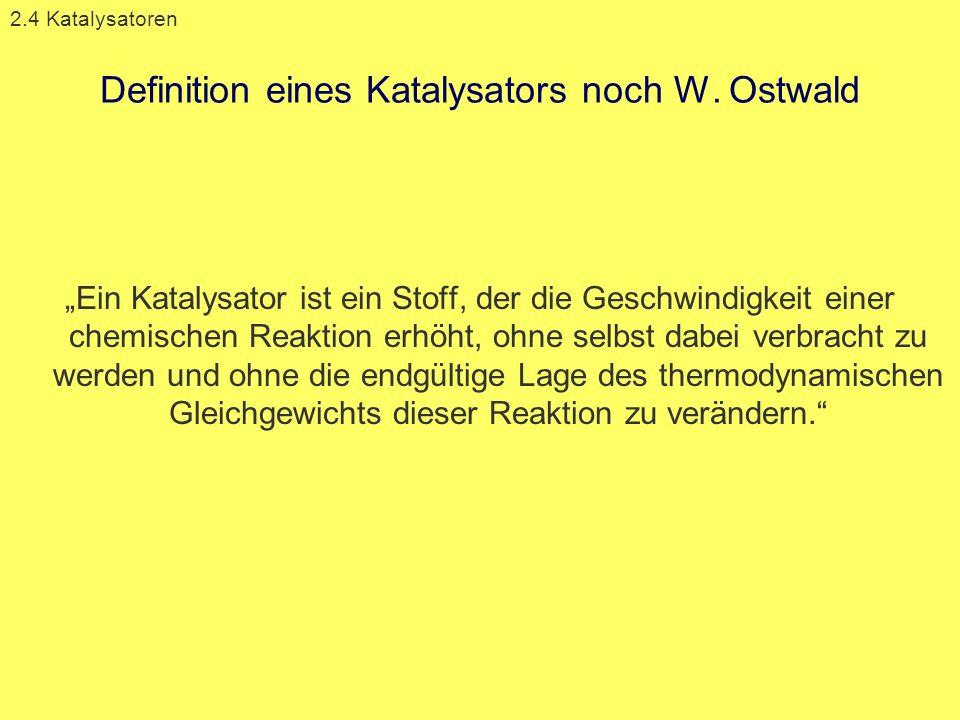 Definition eines Katalysators noch W. Ostwald Ein Katalysator ist ein Stoff, der die Geschwindigkeit einer chemischen Reaktion erhöht, ohne selbst dab